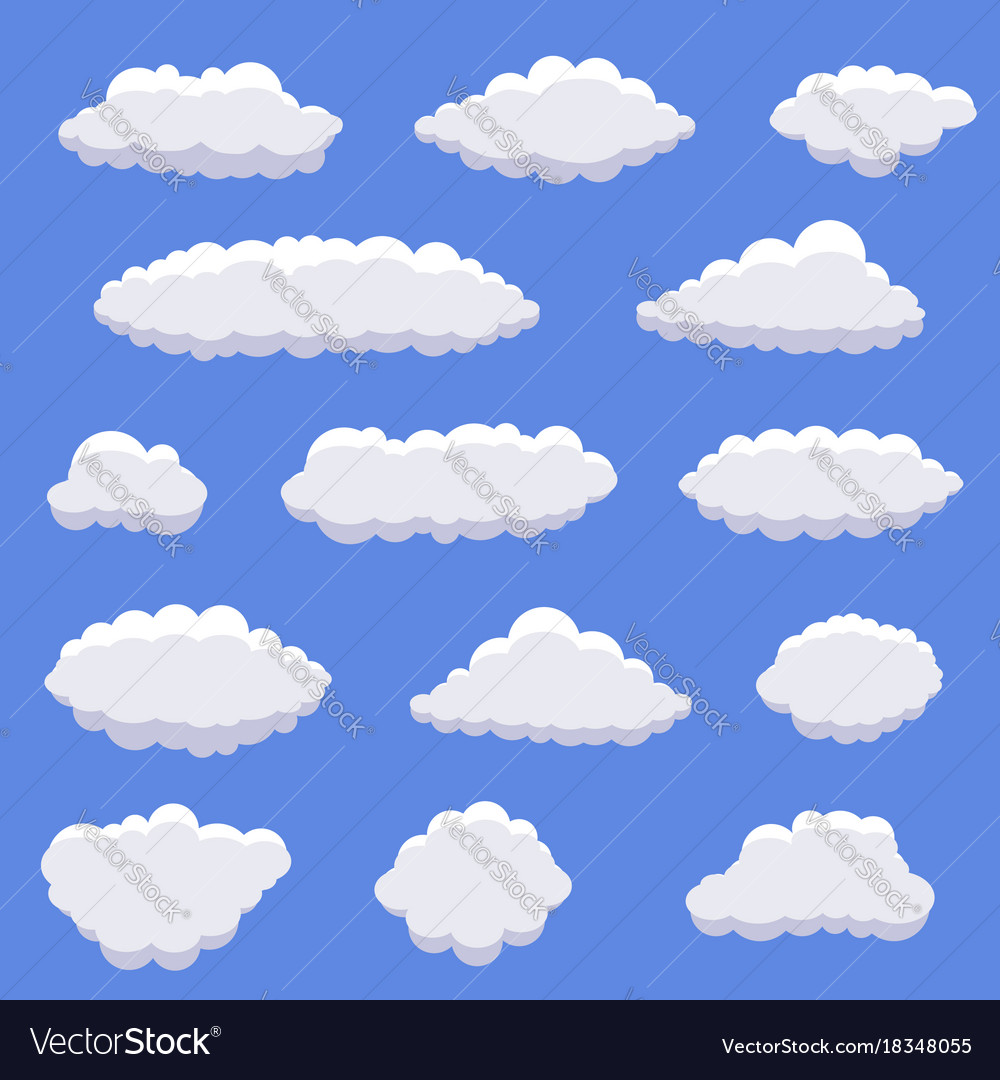 White cartoon clouds