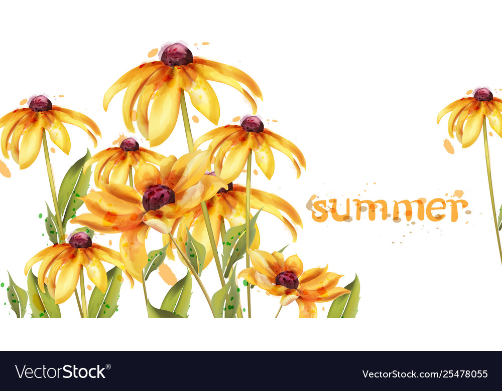 Yellow flowers watercolor card summer