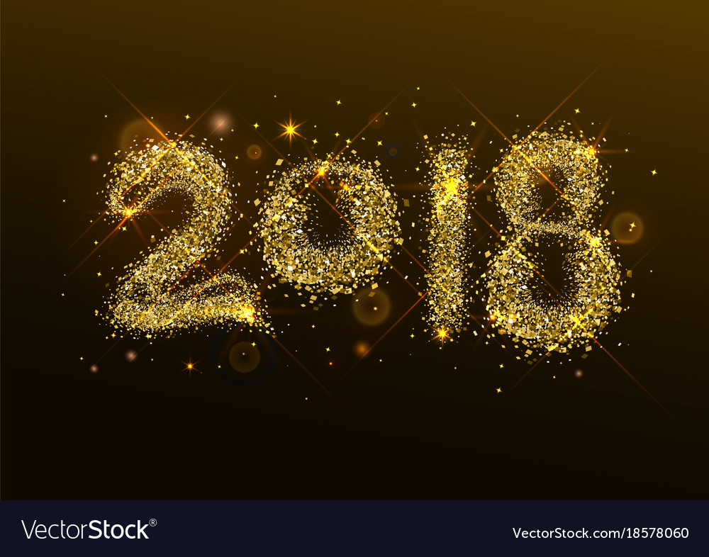 2018 new year golden confetti salute number