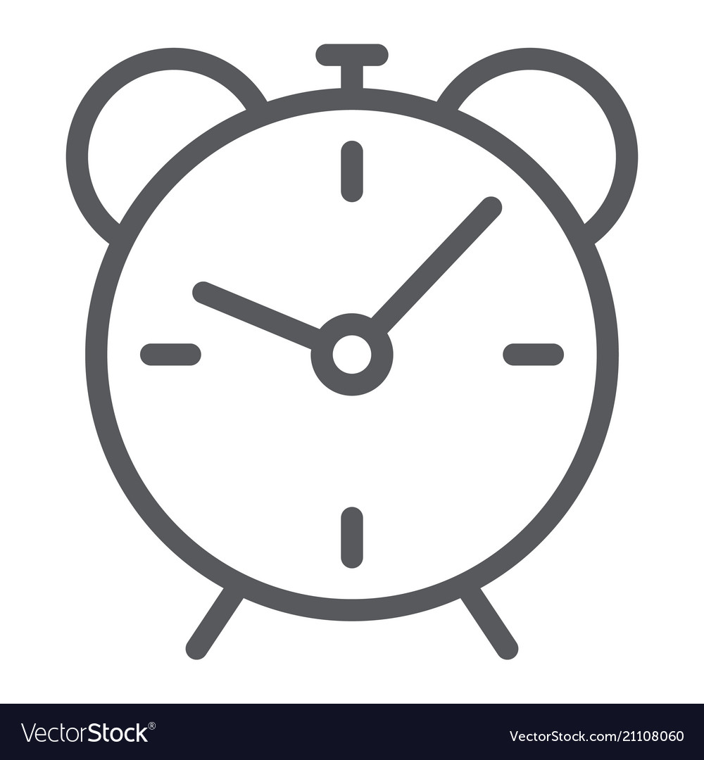 Alarm clock line icon time and hour deadline