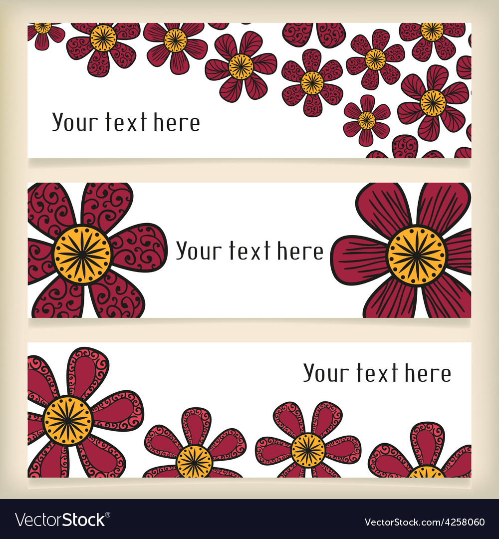 Banners with doodling flowers in tattoo style