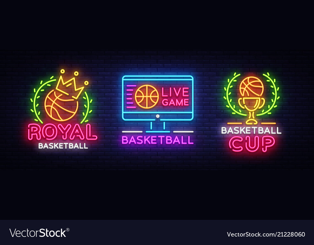 Basketball neon logo collection basketball
