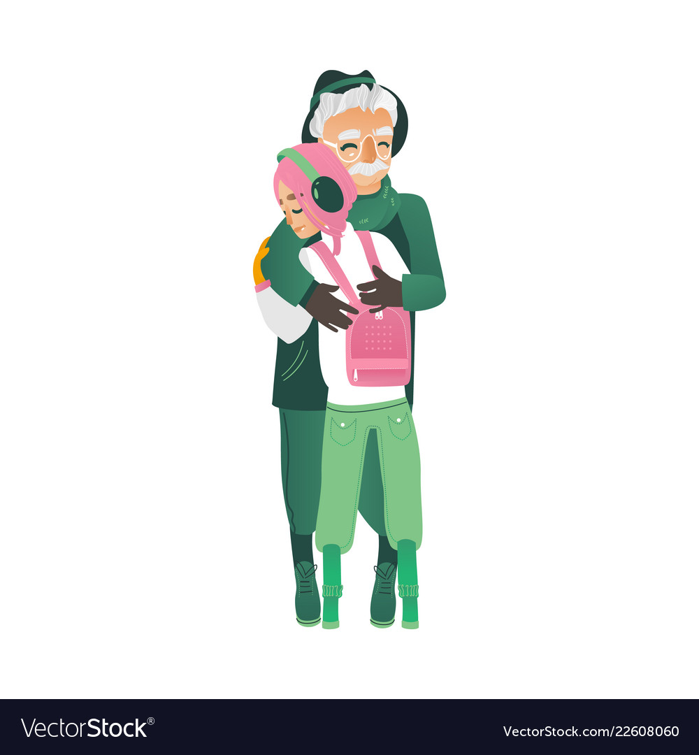 Cartoon father hugs daughter girl outdoors