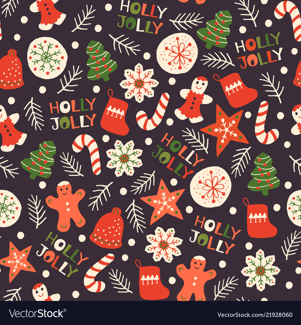 Christmas Seamless Pattern With Cookies Royalty Free Vector