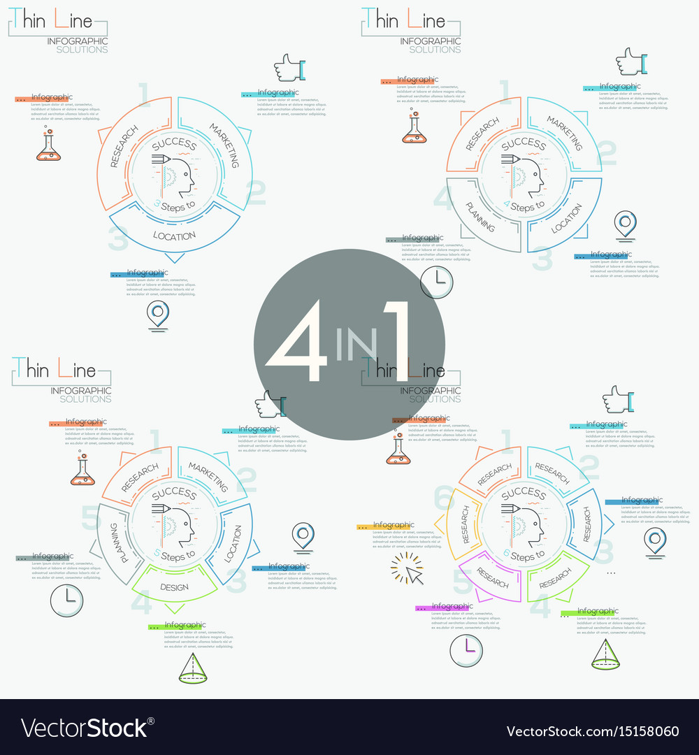 Collection of 4 infographic design templates in vector image
