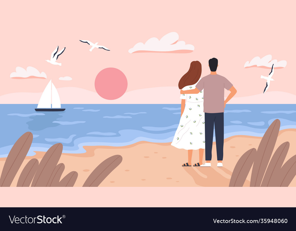 Couple at sea sunset man and woman on date