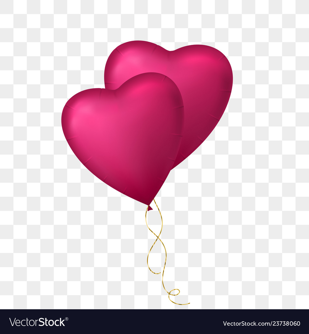 Flying bunch of heart shaped balloon