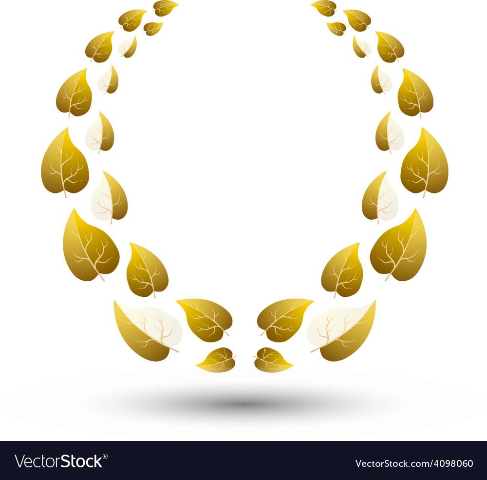 Golden laurel wreath for winner vector image