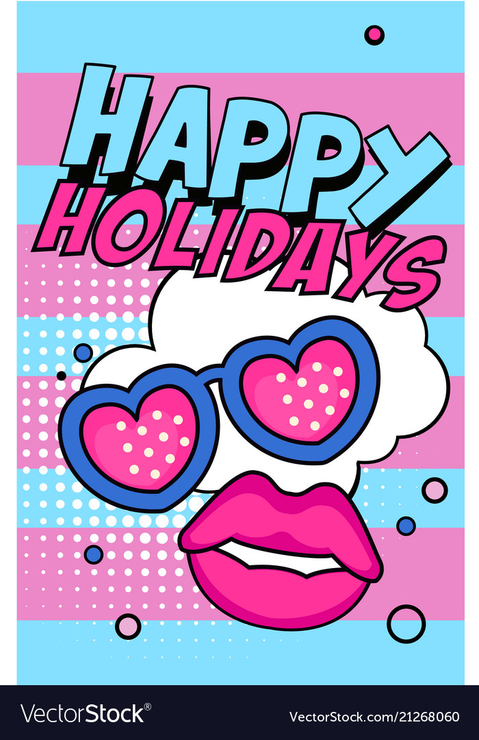 happy holidays banner bright retro pop art style vector image