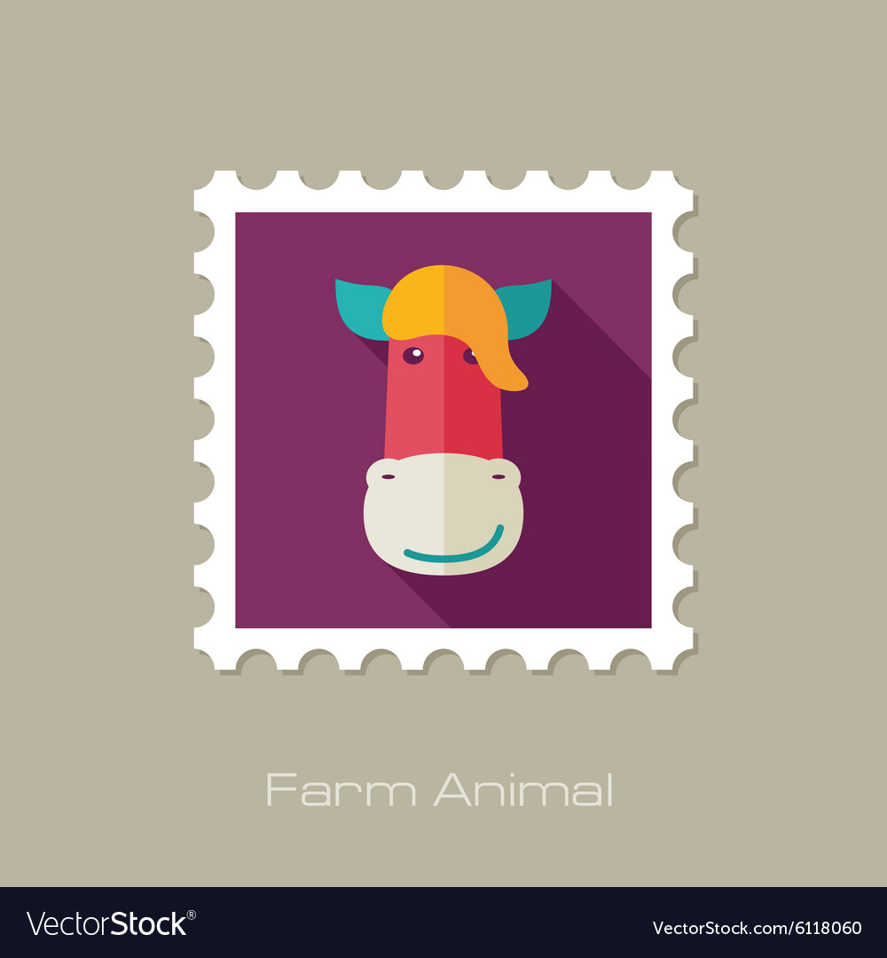 Horse flat stamp Animal head
