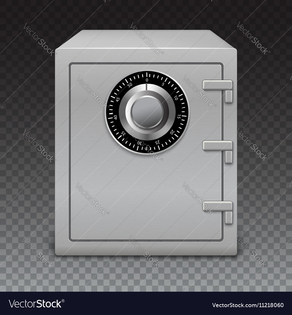 Icon metal box on transparent background Safe