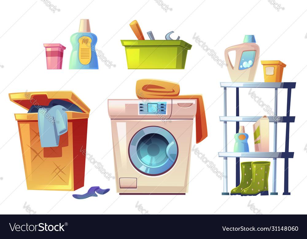 Laundry Equipment Bathroom Stuff Set Royalty Free Vector