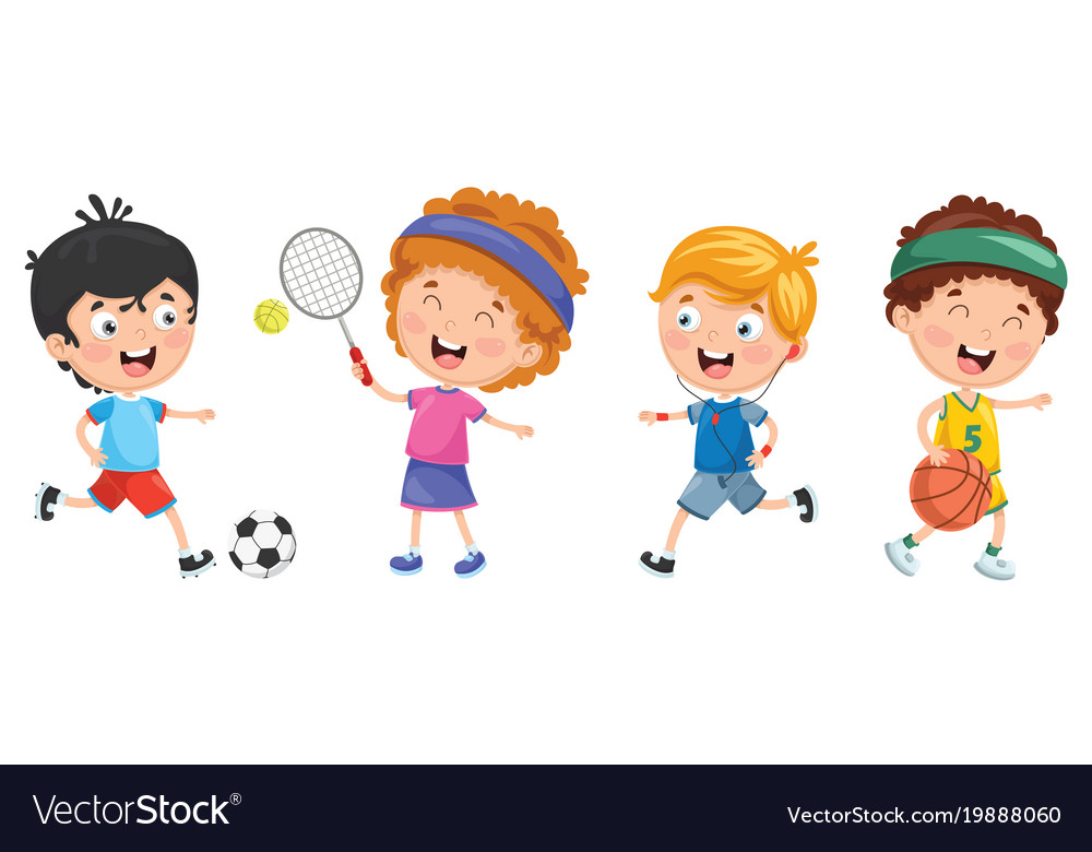 Of Kids Making Sport Royalty Free Vector Image