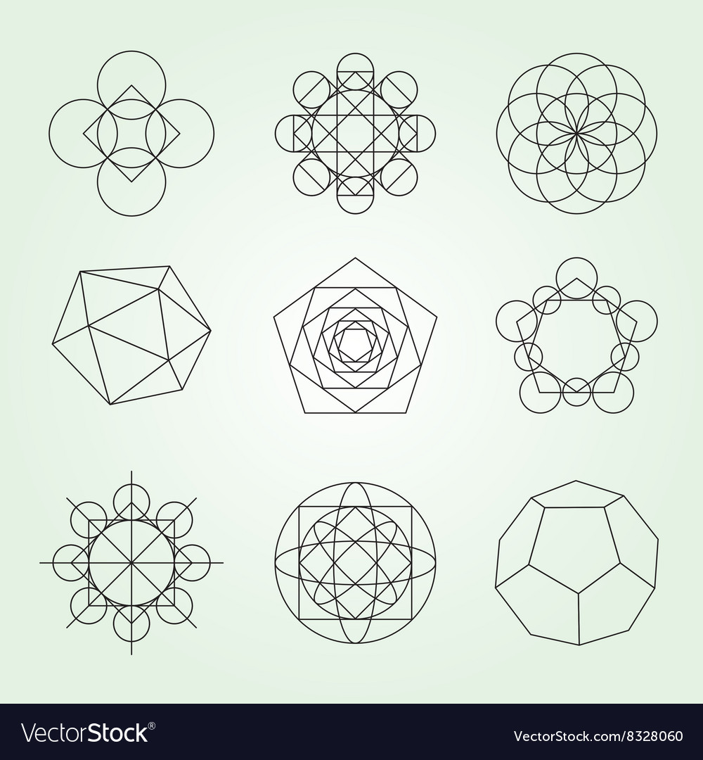 sacred geometry symbols set royalty free vector image