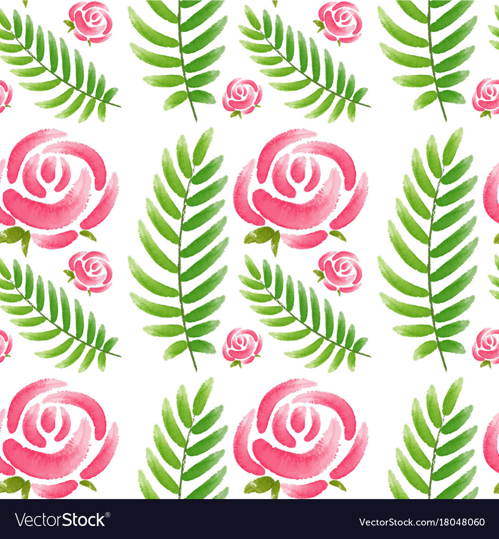 Seamless design with pink roses and green leaves