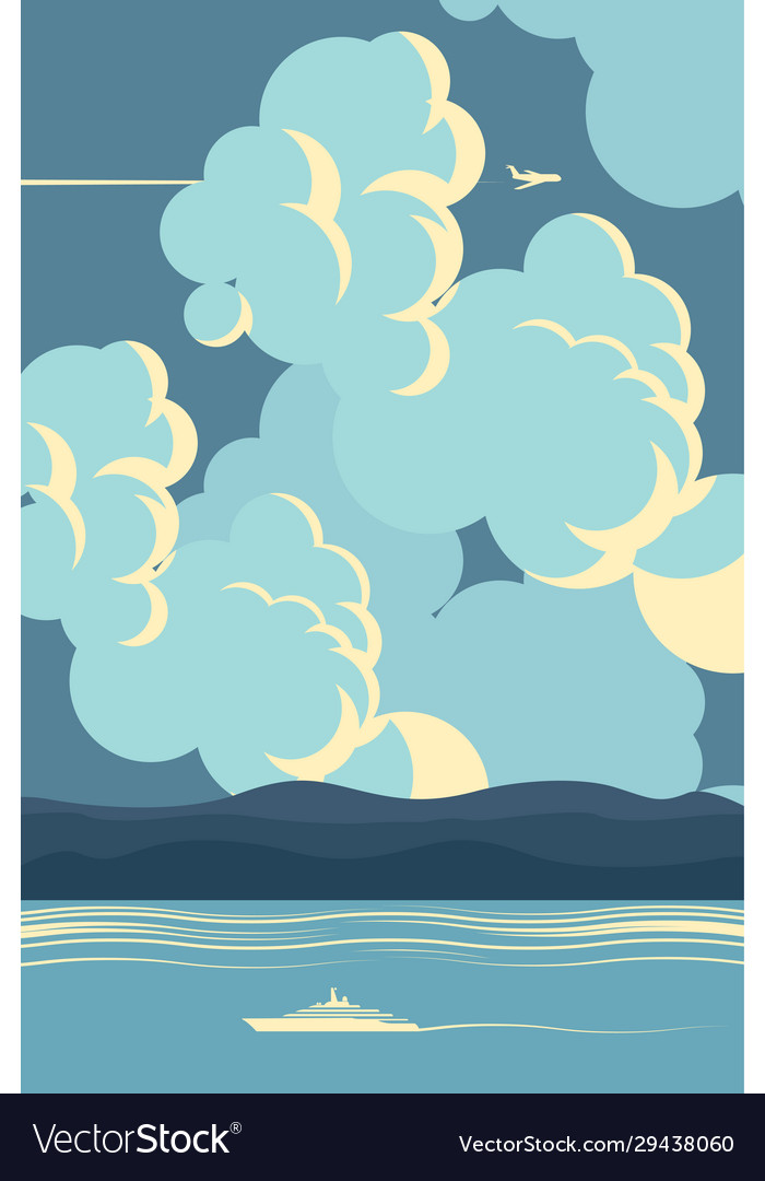 Seascape in blue colors in cartoon style