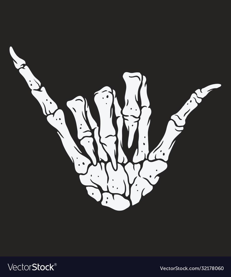 Skeleton hand making hang loose sign