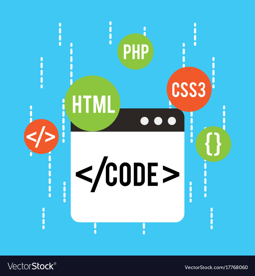 Web Development Code Html Css Php Royalty Free Vector Image