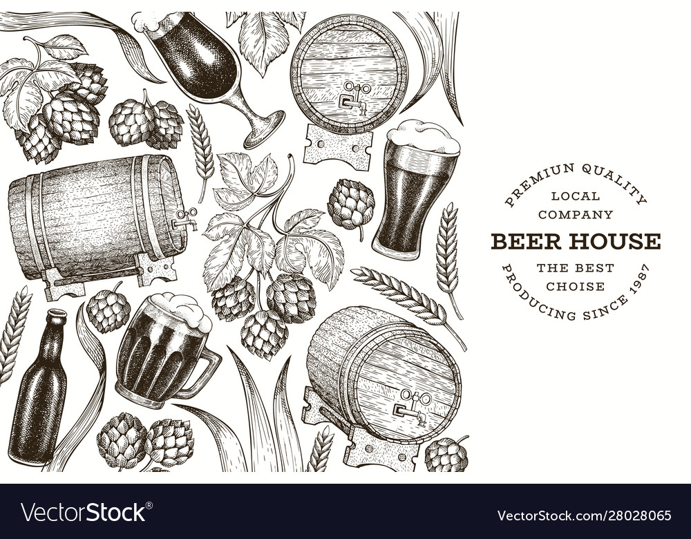 Beer and hop design template hand drawn brewery