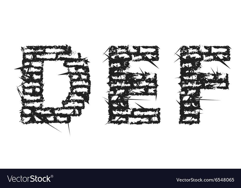 Black Empty Decorative Aggressive Brick Style Font