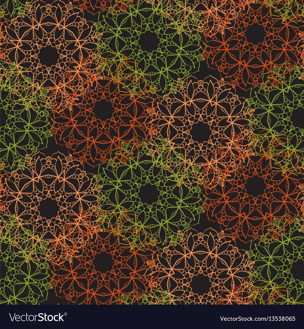 Bright seamless lace pattern on a dark background