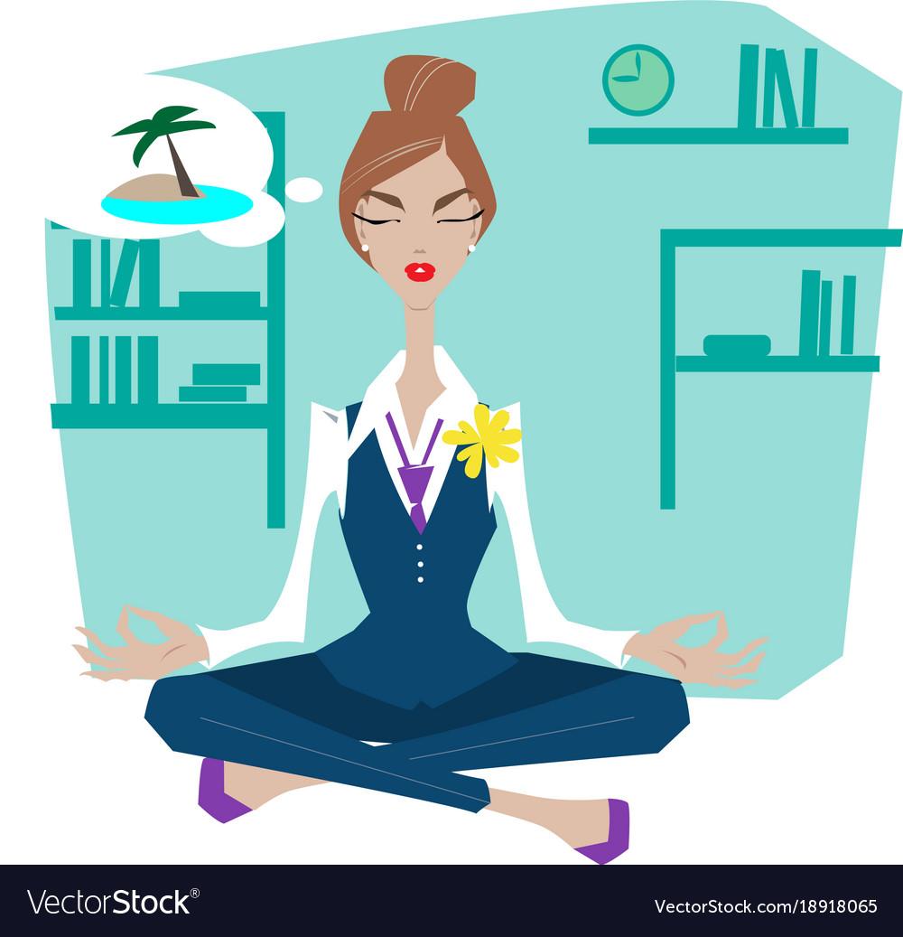 Business woman in lotus pose