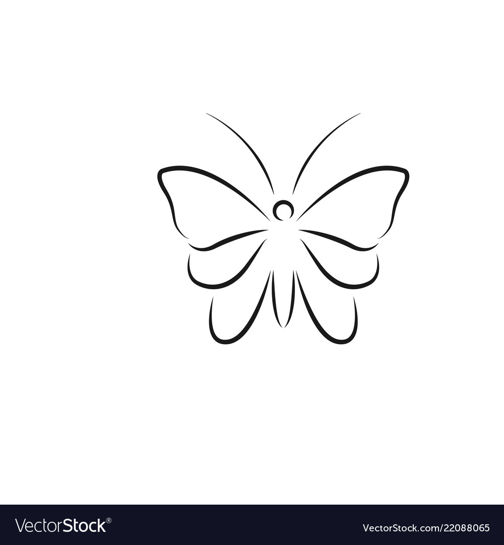 Butterfly line art logo icon design template