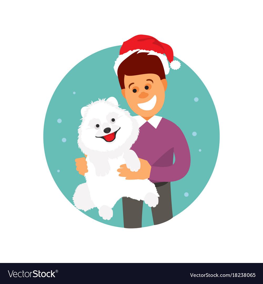 Christmas man with a dog