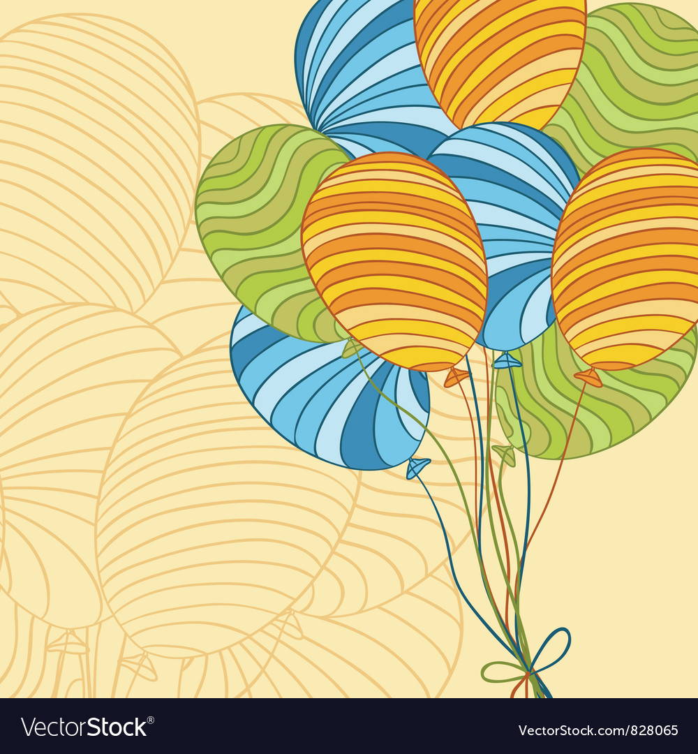 Colored hand drawn balloons