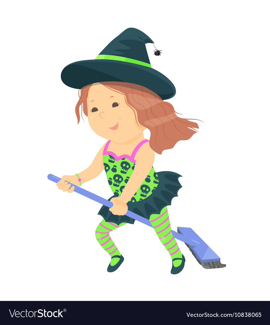 Cute cartoon kid in halloween costume