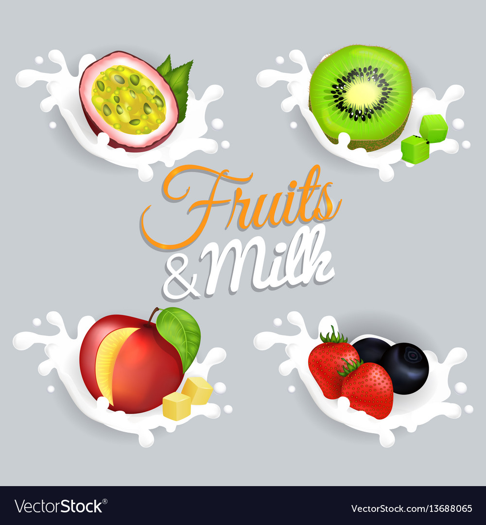 Fruit splashing in milk colorful poster vector image