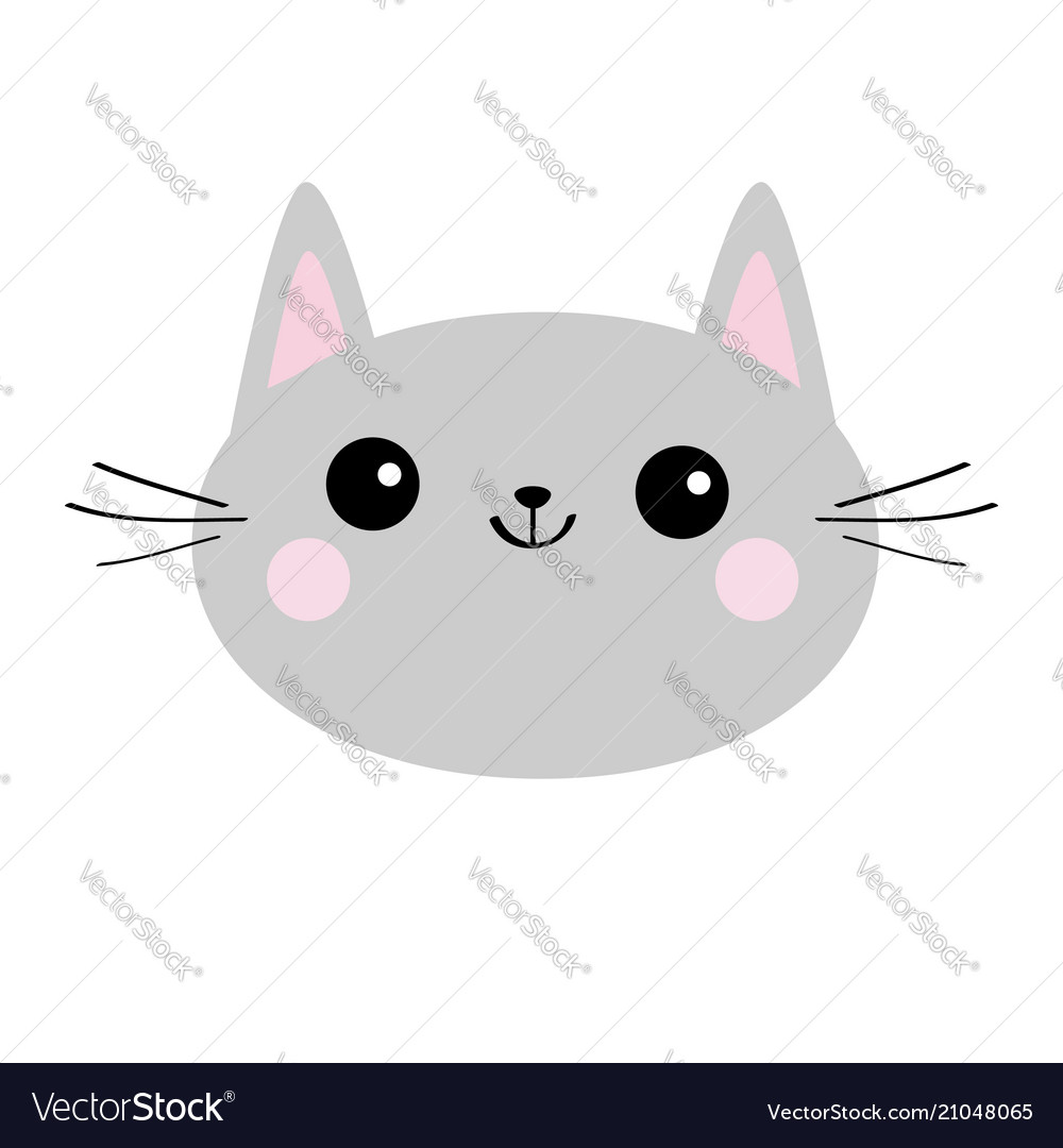 Gray cat head face silhouette icon cute cartoon