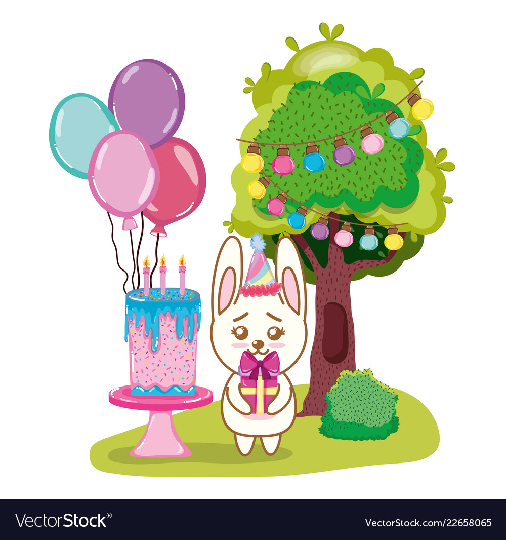 Happy Birthday Rabbit Cartoons Royalty Free Vector Image