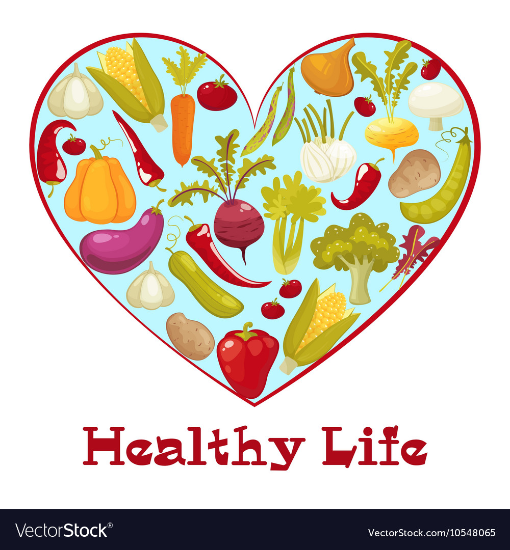 Healthy life Cartoon style heart with healthy