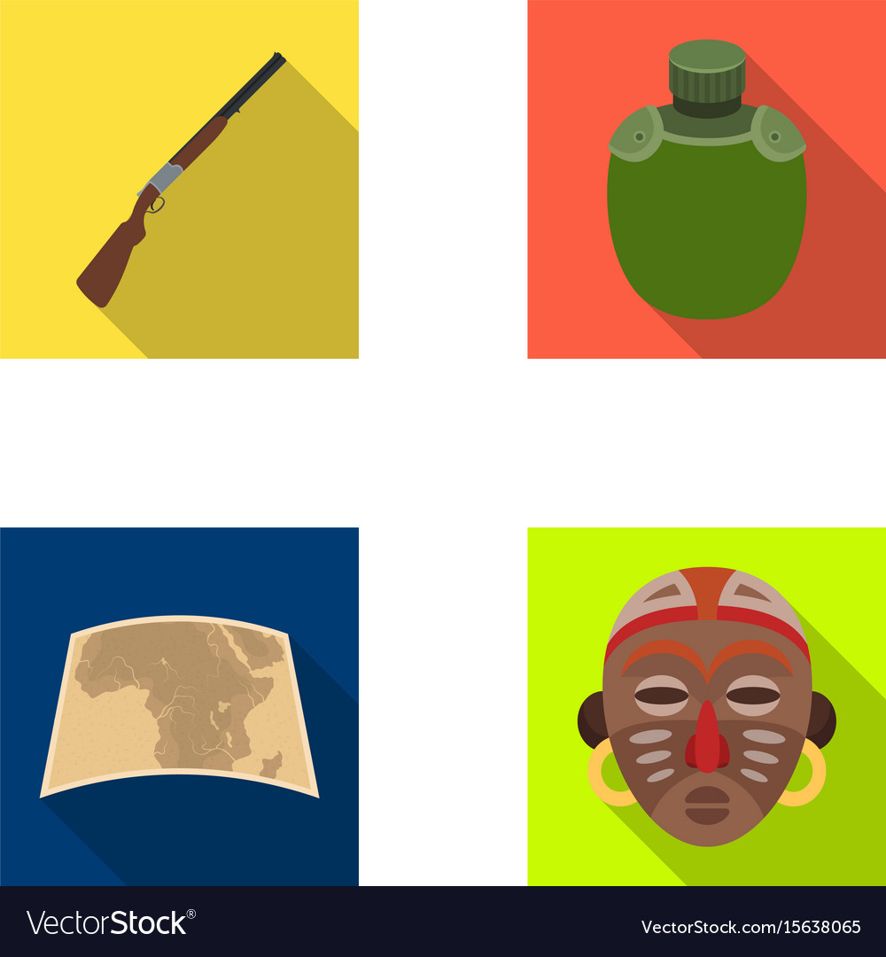 Hunting rifle flask in the case map african vector image