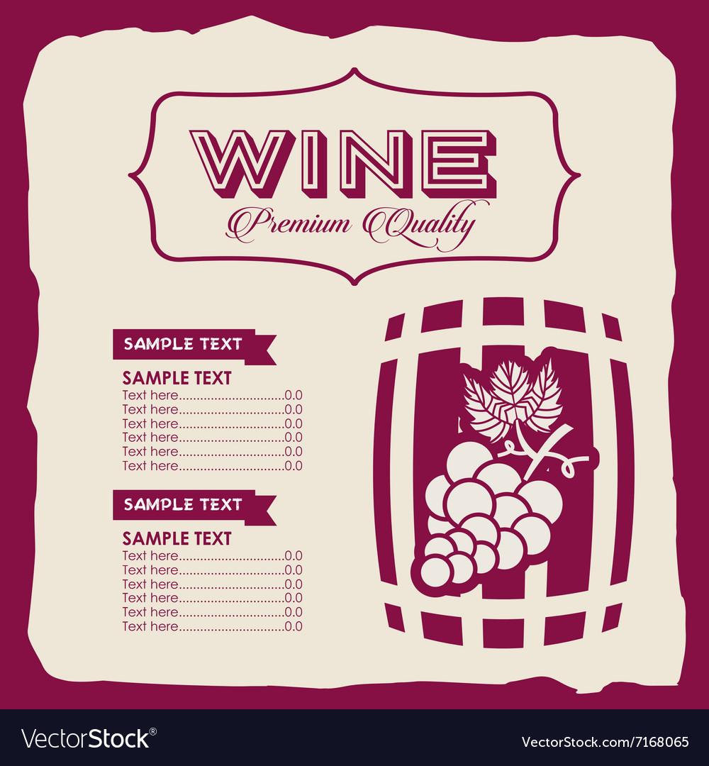 Menu wine design vector image