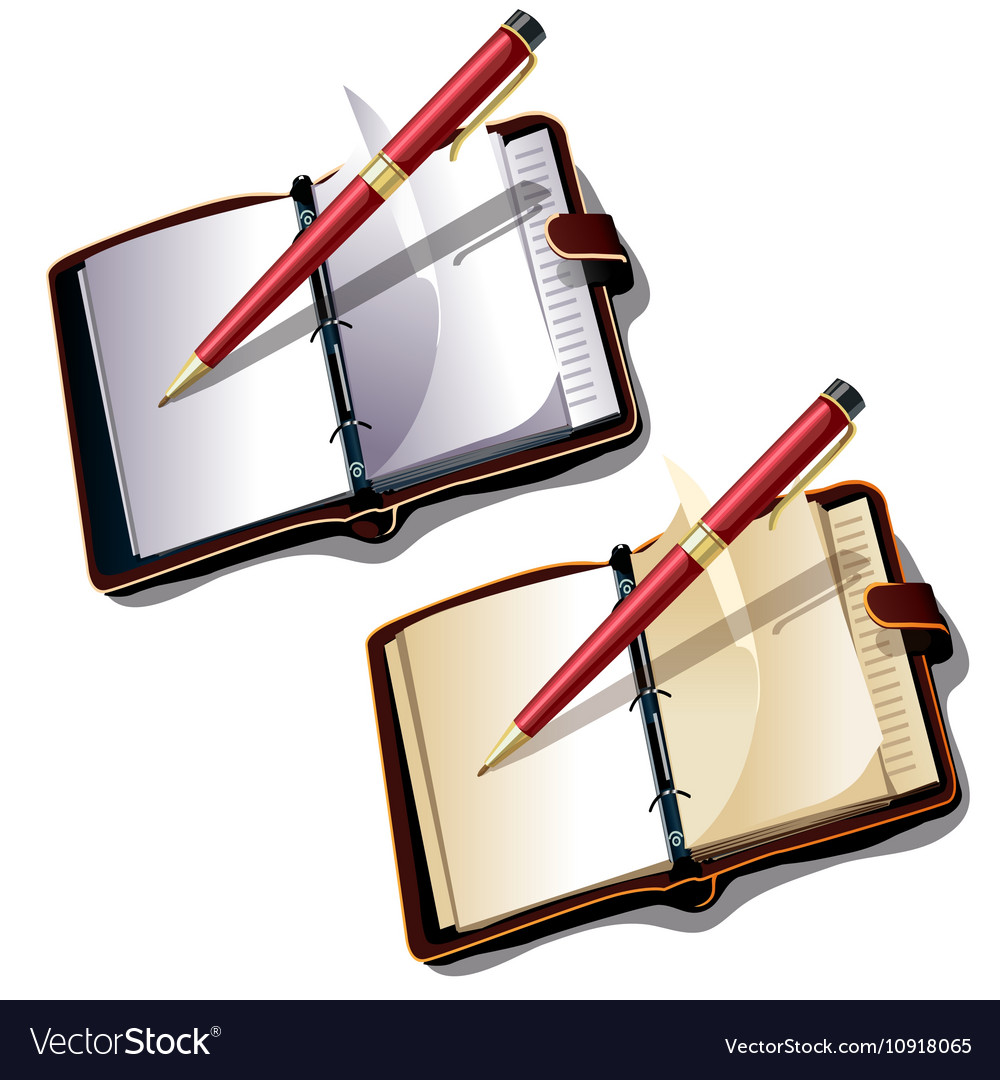 Notebook with ball pen on white background