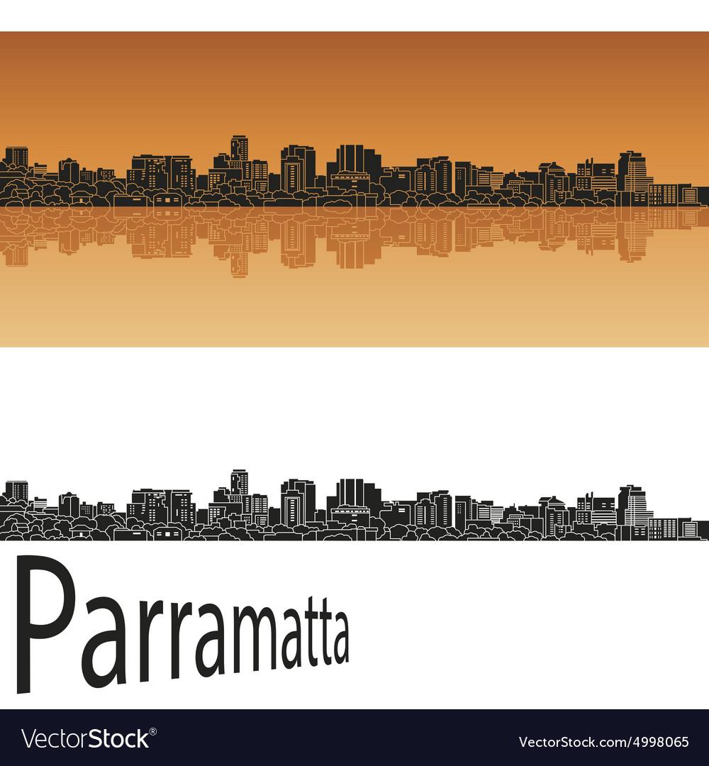 Parramatta skyline in orange vector image