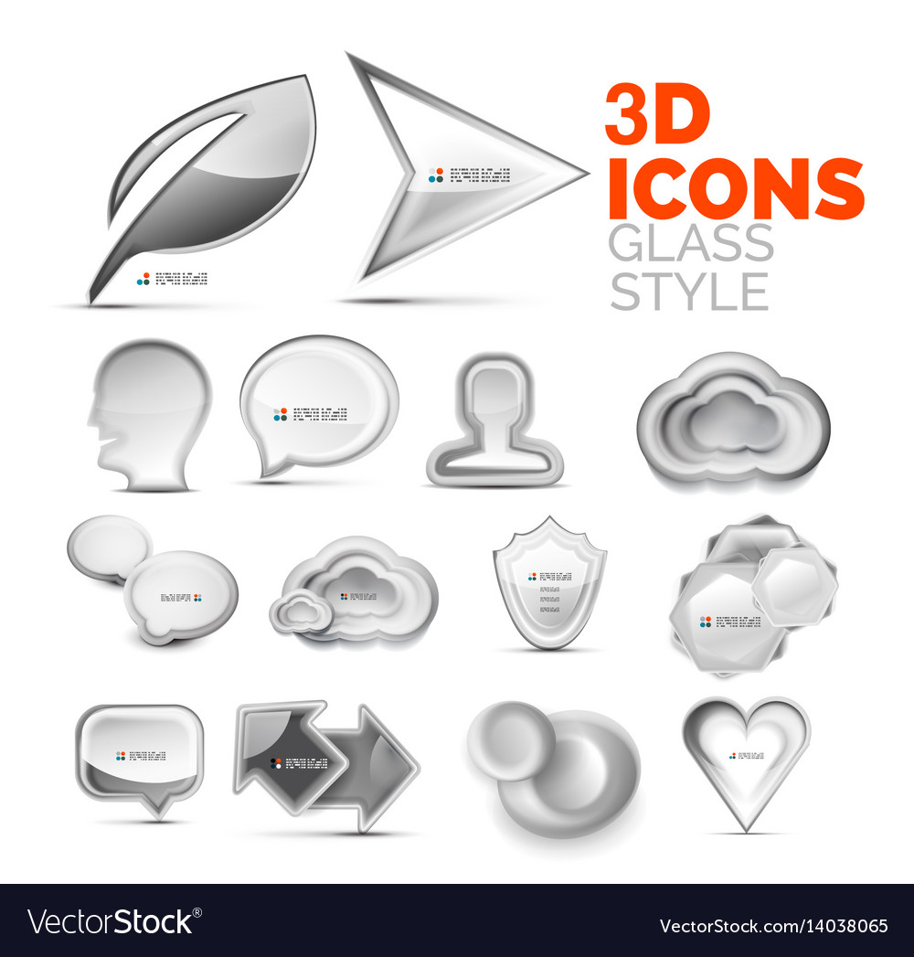 Set of 3d grey icons universal elements vector image