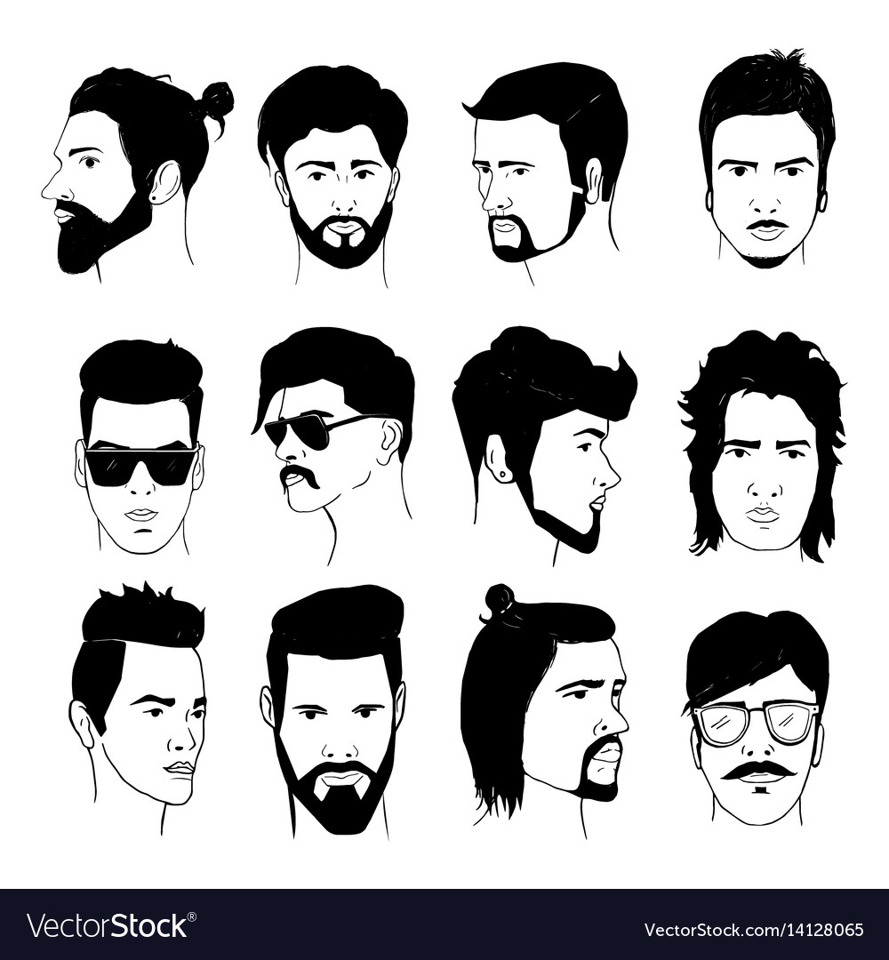Set of men hairstyle with beards and mustache vector image