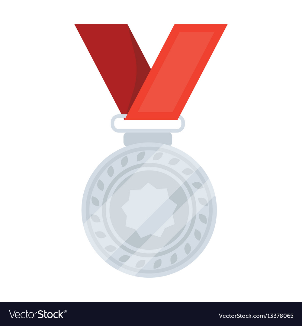Silver medal on a red ribbonthe award for second