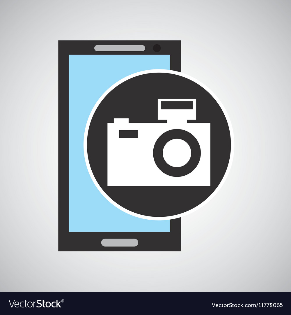 Smartphone camera flash social media vector image