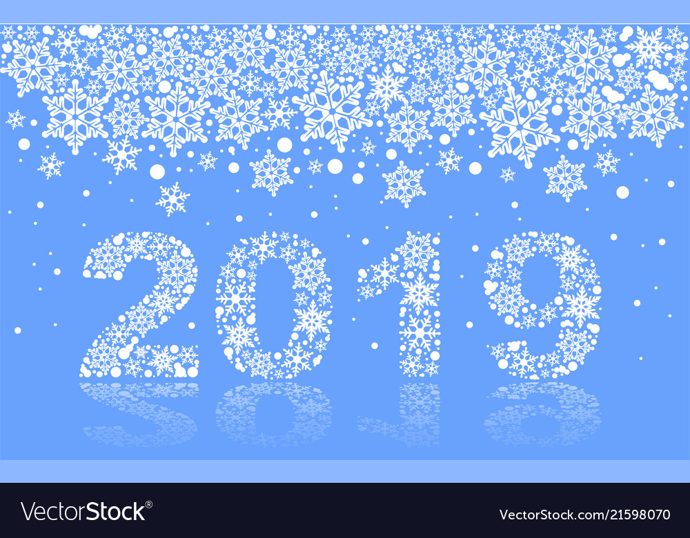 2019 happy new year text number snowflake on blue vector image