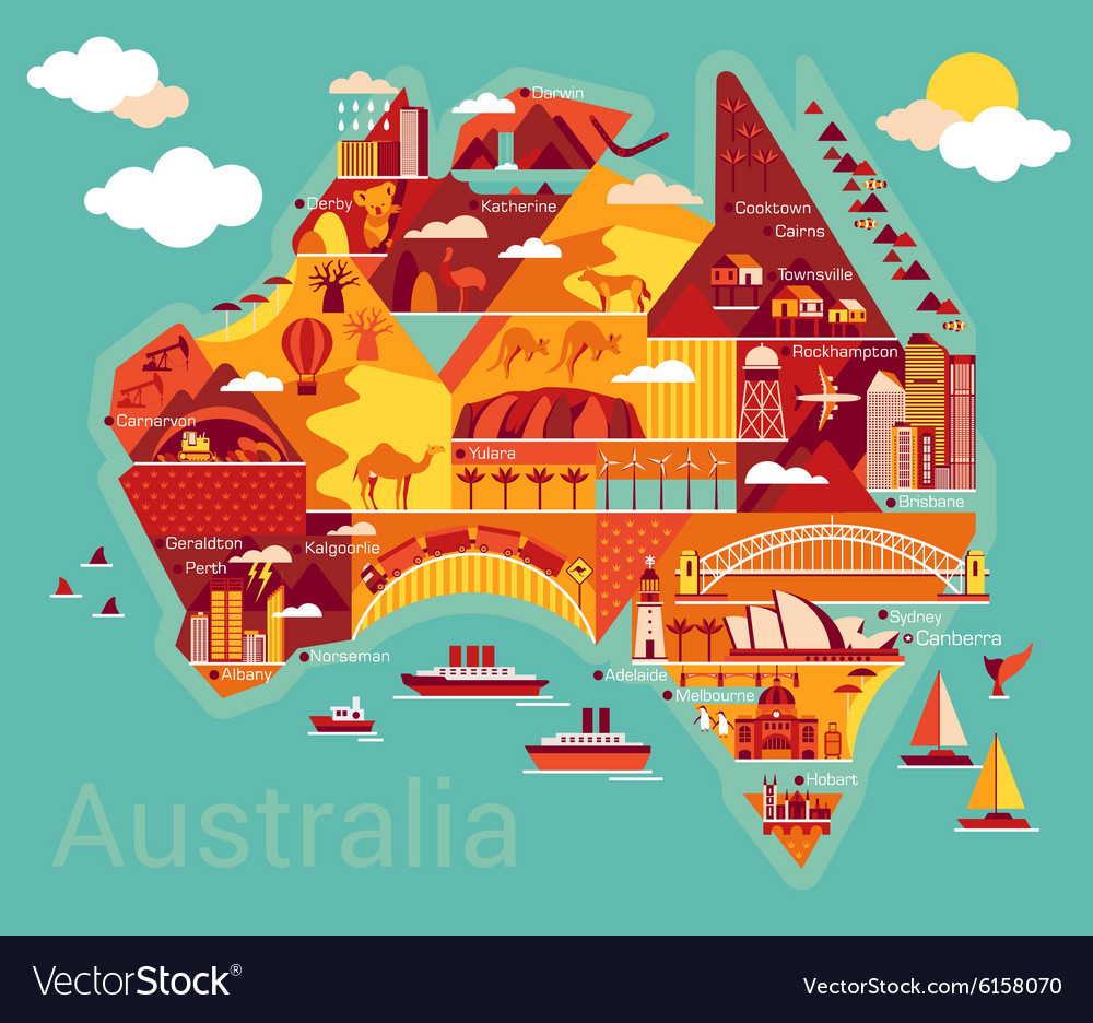 Picture Of Australia Map.Cartoon Map Of Australia Royalty Free Vector Image