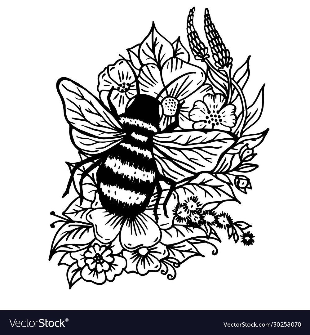 Doodle bumblebee in flowers and leaves