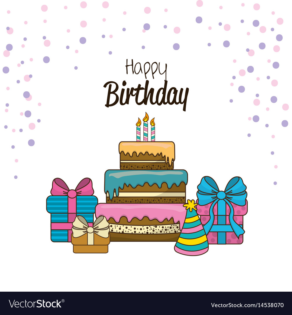 Happy birthday with pastel candle gift and hat vector image