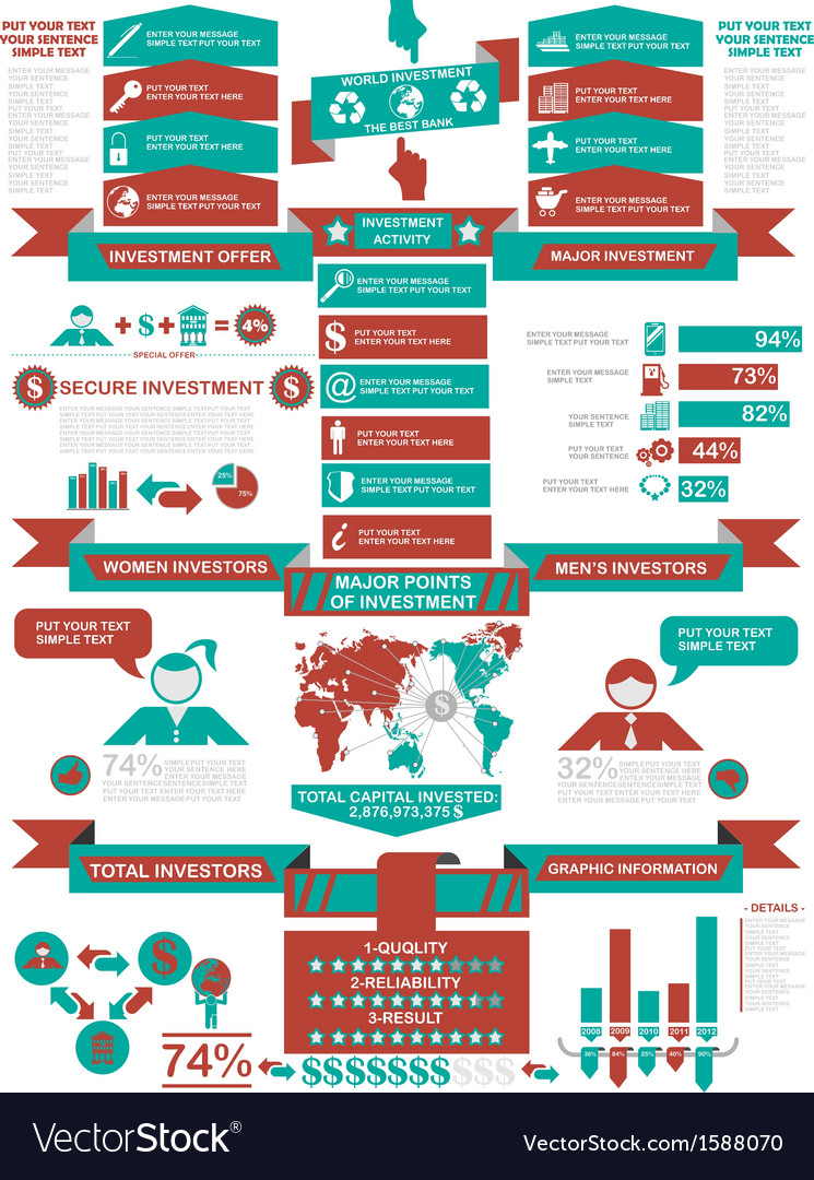 INFOGRAPHIC DEMOGRAPHICS BUSINESS RED vector image