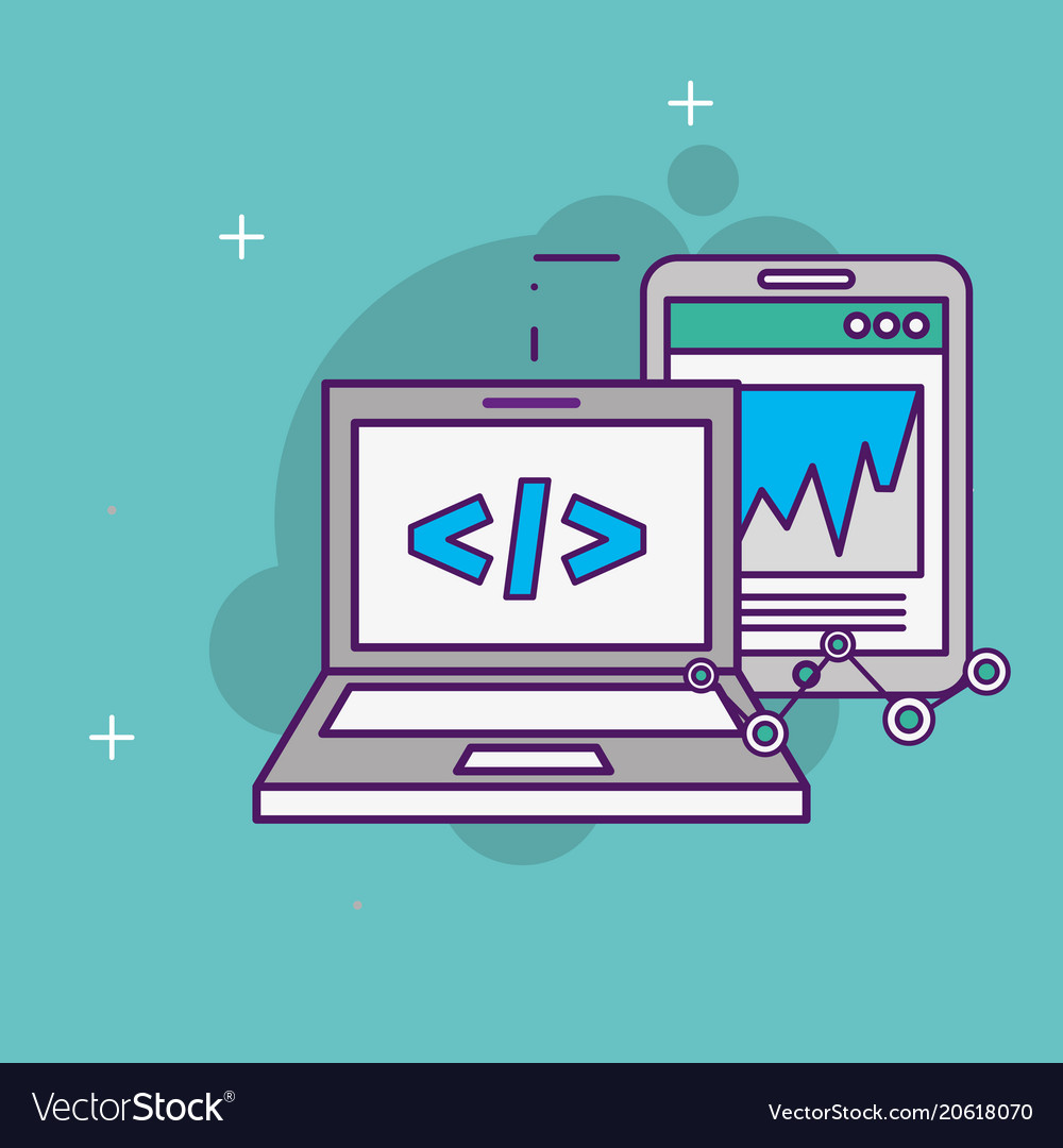 Laptop code programm interface mobile report vector image