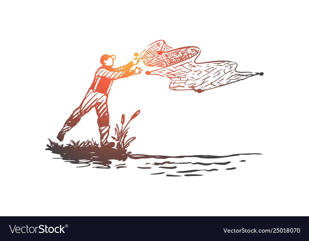 Man fishing net river nature concept