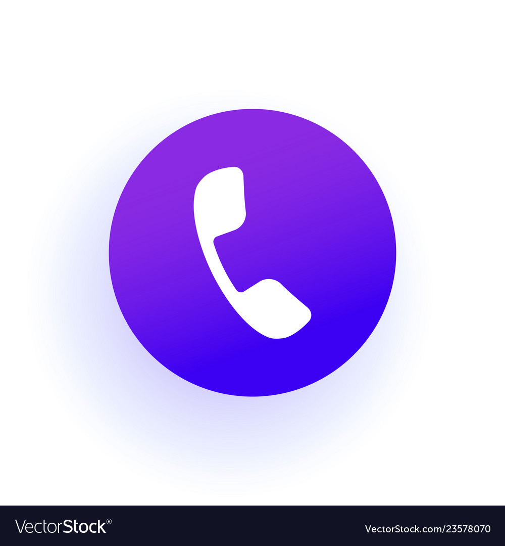 Phone icon handset in a circle purple gradient